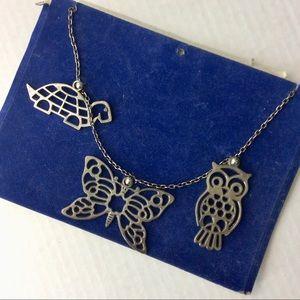 Vintage Silver Tone Owl Moth Turtle Charms OS